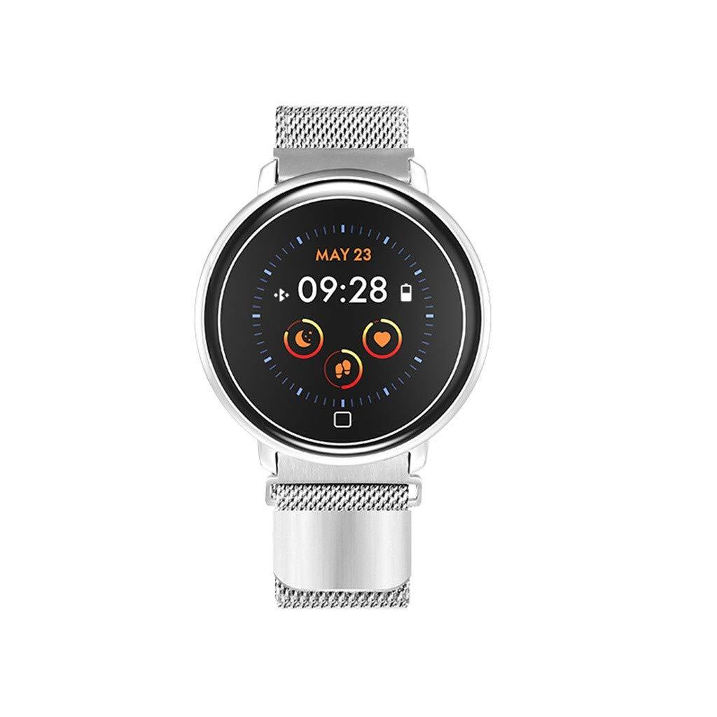 Smart Watch for Android/iOS,Jchen IP67 Waterproof Round Touchscreen Men Women Heart Rate Monitor Blood Pressure Bluetooth Sport Smart Watch Best Gift for Halloween,Christmas (A)