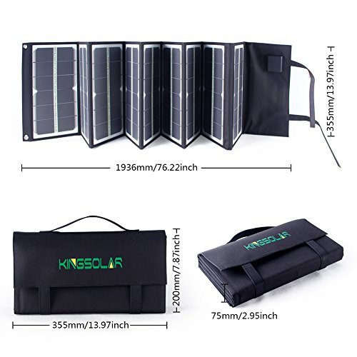 KINGSOLAR Highest Efficient 80W Foldable Solar Panel Portable Solar Charger Dual Output (USB Port + DC Output) for camping