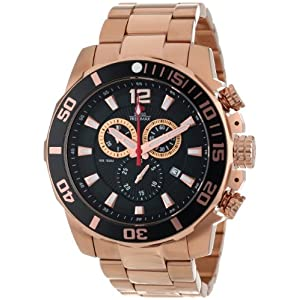 Swiss Precimax Men's SP13257 Crew Pro Black Dial with Rose-Gold Stainless Steel Band Watch