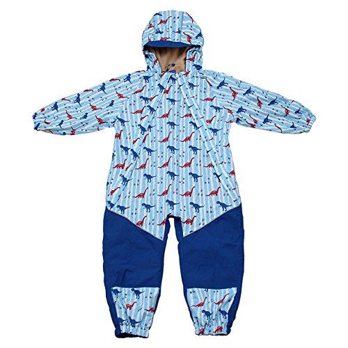 Kids Water-Proof Fleece-Lined Rain Suit One-Piece Hooded (Dino,1T)