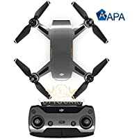 SopiGuard APA Chrome Black Precision Edge-to-Edge Coverage Vinyl Sticker Skin Controller 3 x Battery Wraps for DJI Spark