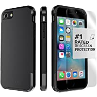iPhone 8 Case and 7 Case, SaharaCase Inspire Dual-Layer Protection Kit Bundle with [ZeroDamage Tempered Glass Screen Protector] Rugged Protection Slim Fit [ Shockproof Bumper] - Black