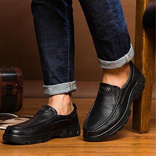 de oficina de y de Mocasines al aire libre carrera hombre Black 38 ligero genuino cuero 45 Zapatos Confort Tamaño a 80ECwF8x