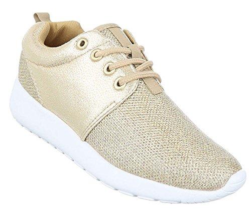Damen Freizeitschuhe Schuhe Sportschuhe Turnschuhe Sneaker Laufschuhe Schwarz Gold Silber Weiß 36 37 38 39 40 41 Gold