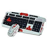 Generic Multimedia 2.4GHz Wireless Pro Gaming Keyboard and Mouse Combo for Desktop PC Laptop (White and Red)