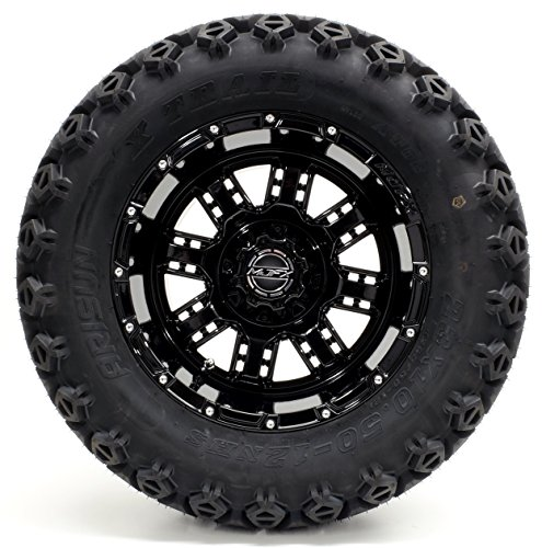 Golf Cart 12'' Madjax MJFX''Transformer'' Black Wheel and 23 x 10.5-12 Golf Cart (6-PLY) ''X-Trail'' All Terrain Tire Combo- - Set of 4 by Golf Cart King