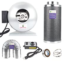 Growsun Inline Fan & Carbon Air Filter & Speed Controller and 25-Feet Ducting With 2 Clamps Combo … (4-inch)