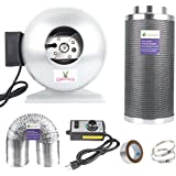 Growsun 4 Inch Inline Fan Carbon Filter Combo With Fans Speed Controller and 25-Feet-Grow Ducting for Grow Tent Exhanst Kit
