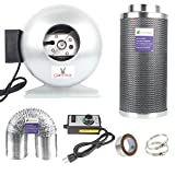 6 inch fan with carbon filter - Growsun 6 Inch 400 CFM Inline Carbon Filter Fan Combo for Grow Tent, Fans Speed Controller and 30 yard Duct Tape and 25-Feet Ducting Included