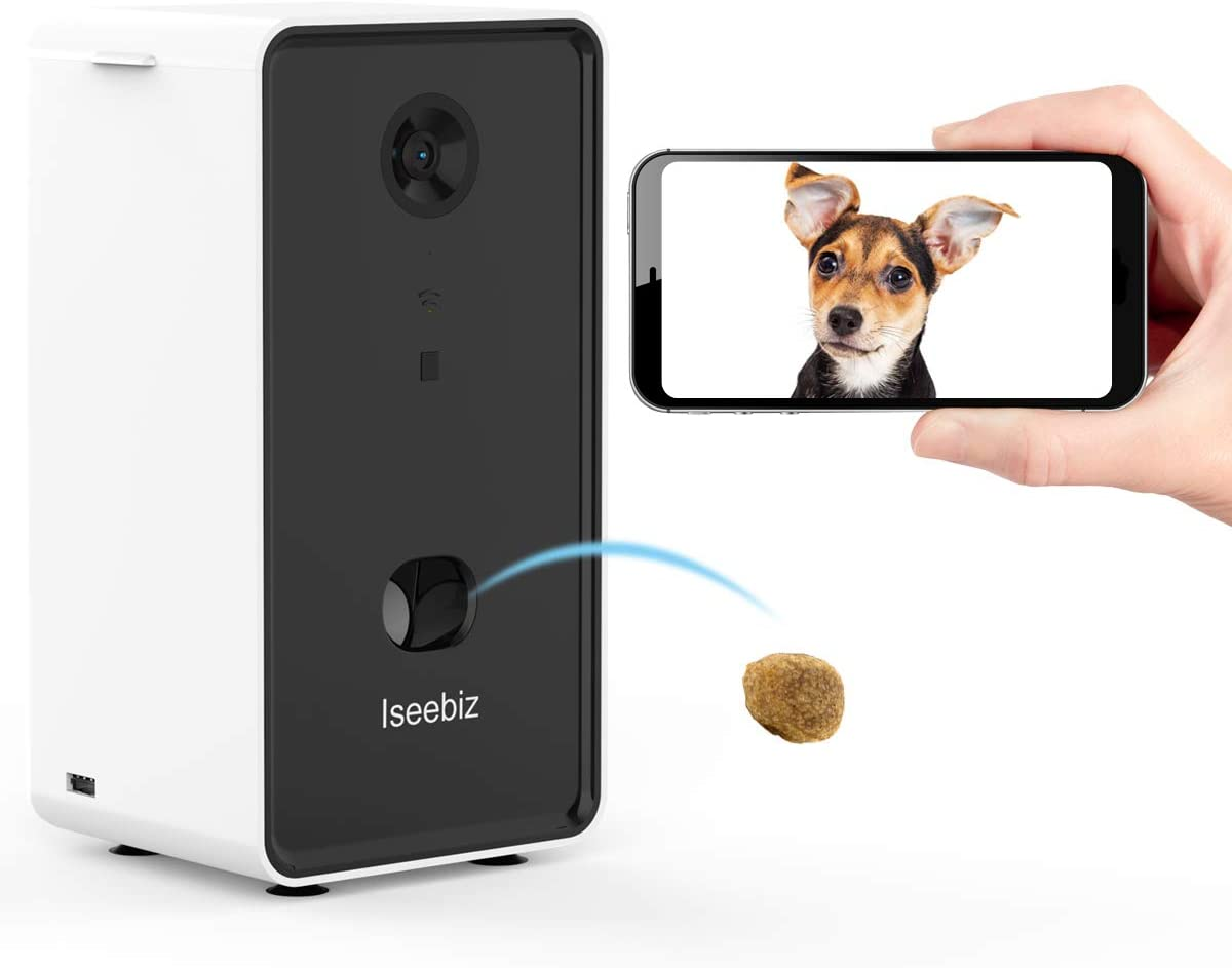 Iseebiz Smart Pet Camera, Dog Camera Treat Dispenser, 2-Way Audio, 720P Night Vision Camera, App Control Android iOS Treat Tossing, 2.4G Wifi Enable, Compatible with Alexa, Monitor Your Dogs and Cats