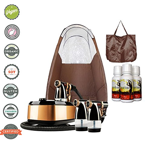 System Tanning Self (MaxiMist Allure Xena HVLP Spray Tanning System with Pop Up Tan Tent Brown)