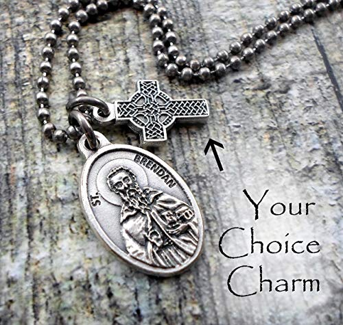 - St. Brendan The Navigator Holy Medal Necklace, Patron Saint, Keychain or Purse-Backpack Clip, Confirmation Teens, Men