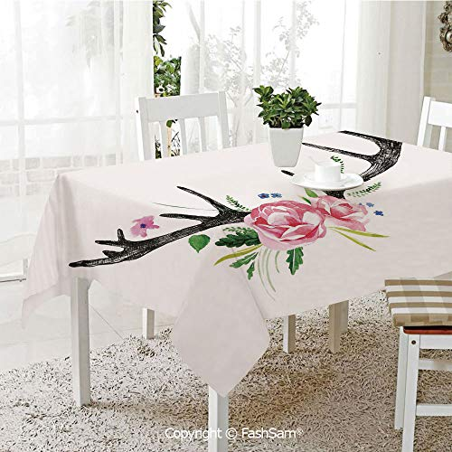 (Premium Waterproof Table Cover Black Deer Horns with Pink Roses Floral Wreath Design in Watercolors Wildlife Decorative Washable Table Protectors for Family Dinners(W60)
