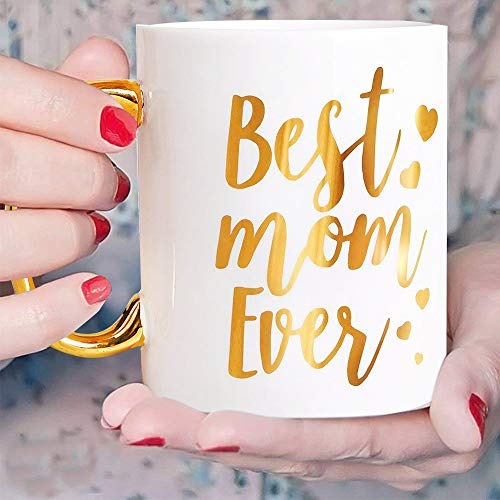 Engraved Gold Best Mom Ever Mum Coffee Mug - Gold Large Handle Coffee Mug for Mom 12 oz - Ceramic Tea Cup White with Large Gold Handle, Mother's Day Gifts for Mum