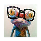 FLY SPRAY 1 Panel Framed 100% Hand Painted Oil Paintings Frog with Glasses Animal Modern Abstract Canvas Painting for Living Room Bedroom Office Wall Art Home Decoration