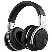 Mighty Rock E7 Active Noise Cancelling Headphones Bluetooth Headphones Over Ear with Microphone Hi-Fi Deep Bass Comfortable Protein Earpads Wireless Headphones, 30 Hours Playtime for Travel /Game /Music/Videos-Black