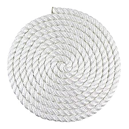 Rot Crafts DIY Projects Alkali 5//8 inch 25 ft - White Heavy Load Uses Towing Multipurpose Utility Line Dock Lines SGT KNOTS Twisted Nylon Rope Weather Resistant Chemical