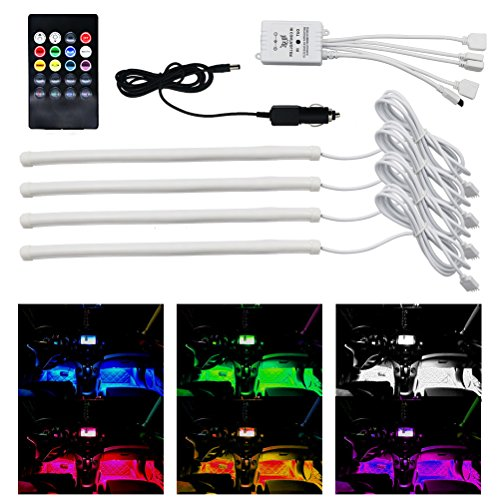lylla 4pcs car led strip lights multi color car interior music led light underdash lighting kit. Black Bedroom Furniture Sets. Home Design Ideas