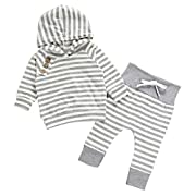 Mandystore 2pc/Set Newborn Kids Clothes Baby Girl Boy Outfits Hooded Stripe T-shirt Tops+Pants (6-12 Months, Gray)