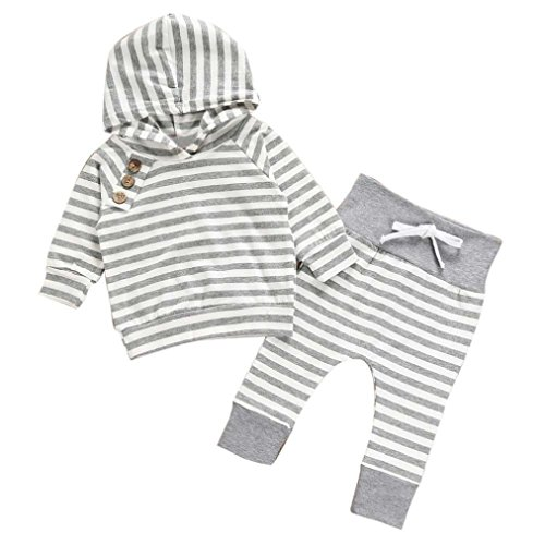 Mandystore 2pc/Set Newborn Kids Clothes Baby Girl Boy Outfits Hooded Stripe T-shirt Tops+Pants, Label 70 (US 0-6 Months, Gray)
