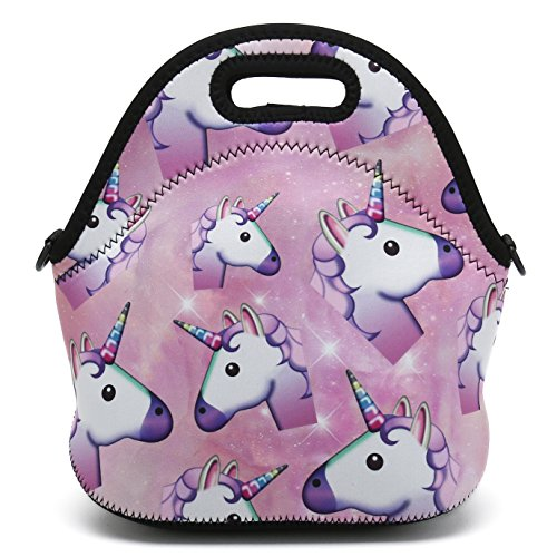 Insulated Neoprene Lunch Bag Removable Shoulder Strap Reusable Thermal Thick Lunch Tote Bags For Women,Teens,Girls,Kids,Baby,Adults-Lunch Boxes For Outdoors,Work,Office,School (Many Unicorns) by HAPPYLIVE SHOPPING (Image #1)