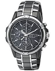 Seiko Mens Solar Quartz Ion-plated Stainless Steel watch #SSC143