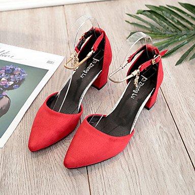 à Marron Cachemire Gros 5 Rouge ruby Combinaison Marche Eté Talons Chaussures Femme Noir 7 à Amande cm ggx LvYuan Talon wq7XzaX