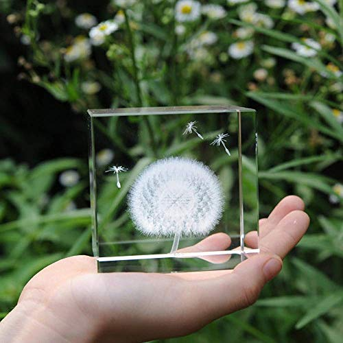 (Nicove K9 Crystal Glass Cube Laser 3D Carving Paperweight Home Decorations Ornament Birthday Gift 2.36