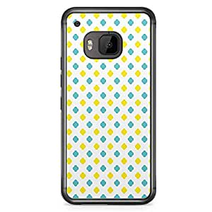 HTC One M9 Transparent Edge Phone Case Geometry Architectural Phone Case Blue And Yellow