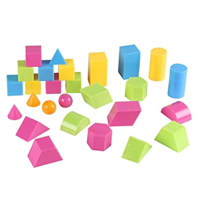 Anniston Kids Toys, 24Pcs 3D Geometric Solid Colorful Shape Visual Aids Math Education Student Toy Learning Education for Baby Children Toddlers Boys & Girls, 27pcs : Baby