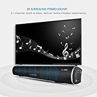 ARVICKA Home Theater TV Speaker- CSR Bluetooth 4.0 Fantastic Wireless 2.1 Channel Surround Sound Bar with Built-In Subwoofer by ARVICKA
