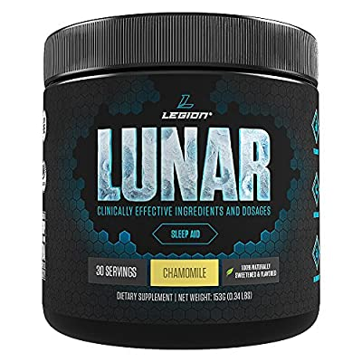 LEGION Lunar - Best Natural Sleep Aid Powder, Non-Addictive Sleeping Aid, Best Non-Drowsy Melatonin Sleep Aid, Herbal Sleep Aid Better Than Sleeping Pills and Sleep Aid Pills - Chamomile, 30 Servings