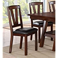 Set of 4 Dining Chairs in Dark Walnut Finish and Faux Leather Seat