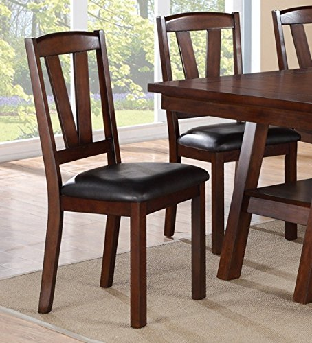 Set of 4 Dining Chairs in Dark Walnut Finish and Faux Leather Seat by Advanced Furniture