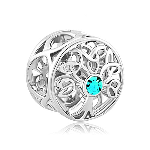 ReisJewelry Celtic Knot Charms Filigree Family Tree Of Life Charm Beads For Snake Chain Bracelet (Peacock Blue)