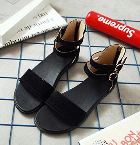 Easemax Womens Trendy Faux Suede Open Toe Ankle Buckles Straps Zipper Flats Sandals Black RHtZB0m