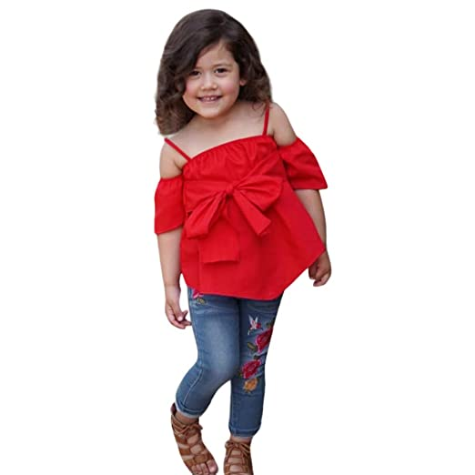ca63b4e05a7f08 2 Pieces Kids Baby Girl Solid Off-Shoulder Bowknot Tops Embroidery Flower  Print Denim Pants
