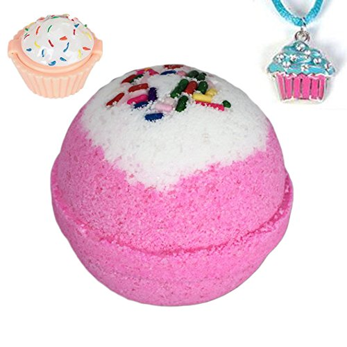 Birthday Surprise BUBBLE Bath Bomb with Surprise Kids Cupcake Necklace or Lip Gloss Inside - in Gift Box - By Two Sisters Spa - Made by Moms in the USA - Cupcake Bath Bomb