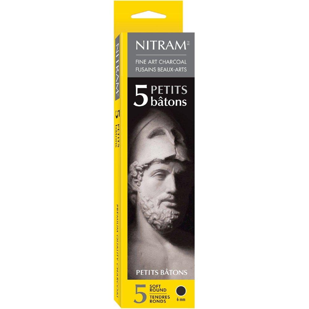 Nitram Charcoal X-Soft 6Mm Round Sticks 5/Pk NITRAM ART INC 700300