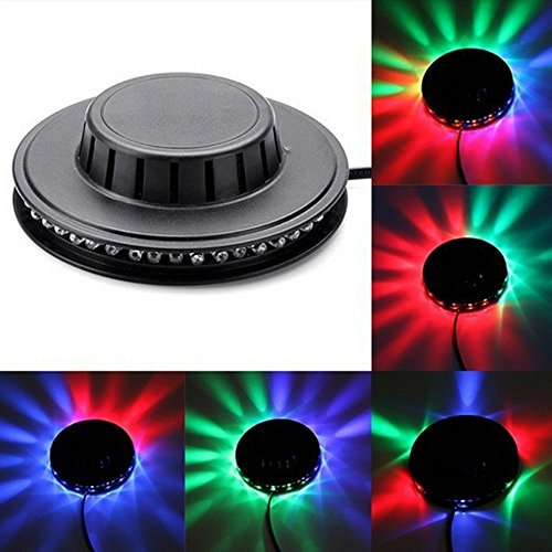 (Onepalace Voice-activated 48LEDs RGB Stage Effect Lights Lighting Lamp for Disco DJ Party KTV Wedding Show Club Pub Bar (Black with Voice-activated))