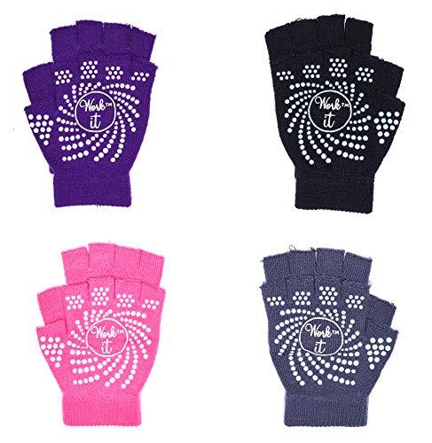 J&S Sport 2 Pack Yoga Fitness Pilates Fingerless Silicone Grip Gloves and Nonslip Skid Free Toeless Socks Assorted Colors (2 Pack Gloves 2 Pack Socks)