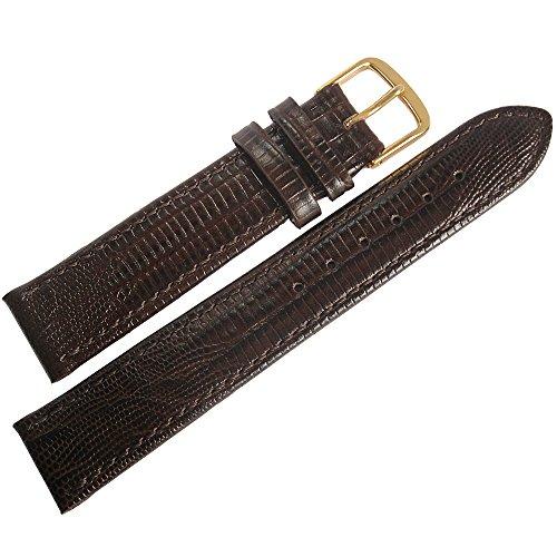 Fluco Teju Lizard-Grain 17mm Brown Leather Gold Buckle Watch Strap -