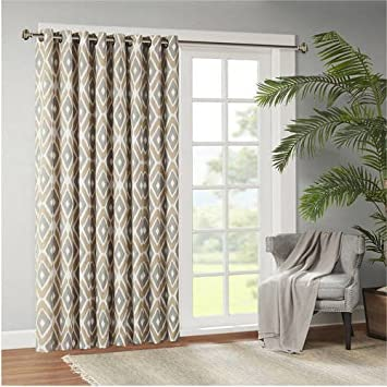 single panel curtain. 1 Piece 84 Inch Taupe Color Diamond Printed Extra Wide Sliding Door Curtain, Brown Geometric Single Panel Curtain
