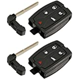 Key Fob Keyless Entry Smart Remote Shell Case & Pad fits Land Rover 2008-2012 LR2, Set of 2