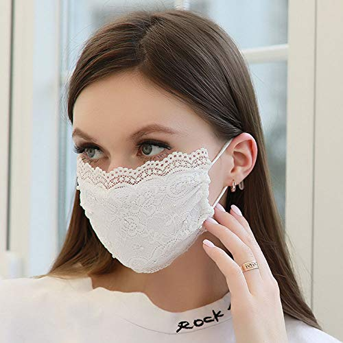 YienDoo Fashion Lace Mask with Pearl Sexy Cover Face Mask Decoration Mask Jewelry for Women and Girls (White)