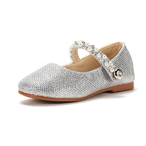 DREAM PAIRS Toddler Aurora_01 Silver Girl's Mary Jane Ballerina Flat Shoes Size 5 M US Toddler