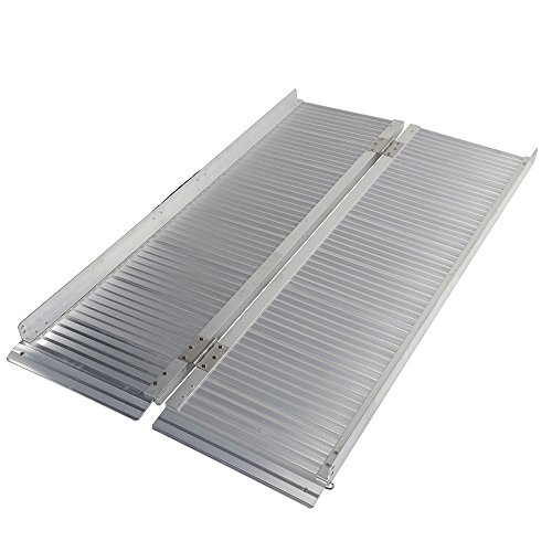 Motorhot Folding Protable Wheelchair Ramp 4ft 600lbs Utility Mobility Scooter Ramp Aluminum ()