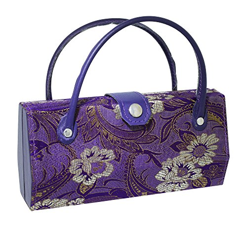 Asian Silk Brocade Style Eyeglass Case Mini Handbag Design Inner Mirror Purple
