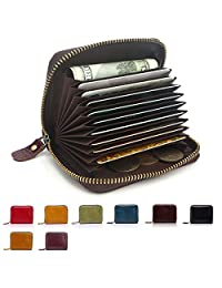 APHISON RFID Card Holder Wallets For Women Men Leather Coin Purse/Gift Box (PURPLE)
