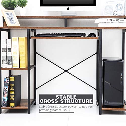 TOPSKY Computer Desk with Storage Shelves/Keyboard Tray/Monitor Stand Study Table for Home Office (Industrial/Rustic Brown)